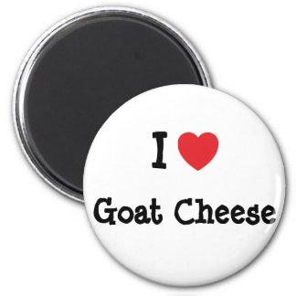 Amo la camiseta del corazón del queso de cabra imán de frigorífico