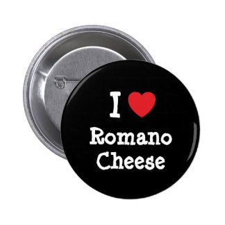 Amo la camiseta del corazón del queso de romano pin redondo de 2 pulgadas