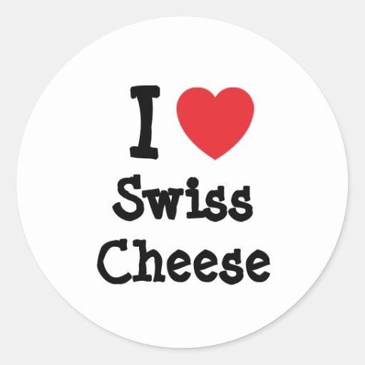 Amo la camiseta del corazón del queso suizo pegatina redonda