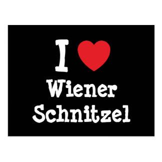Amo la camiseta del corazón del Schnitzel de Tarjetas Postales