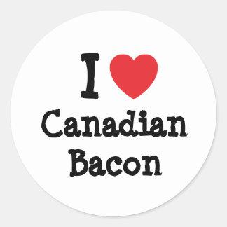 Amo la camiseta del corazón del tocino canadiense pegatinas redondas