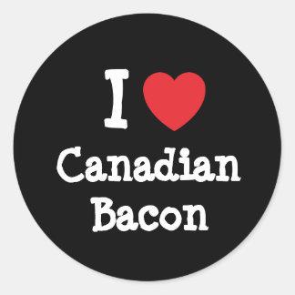 Amo la camiseta del corazón del tocino canadiense pegatina redonda