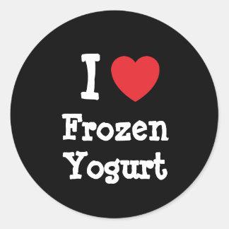 Amo la camiseta del corazón del yogurt congelado pegatina redonda