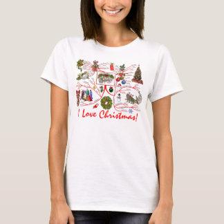 Amo la camiseta del mapa de mente del navidad