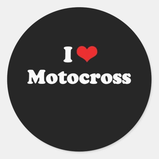 Amo la camiseta del motocrós pegatina redonda