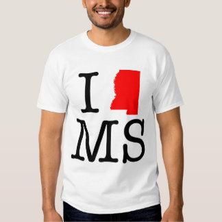 Amo la camiseta del ms Mississippi Playeras