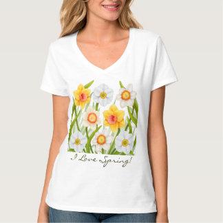 Amo la camiseta del narciso de la primavera polera