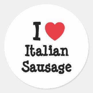 Amo la camiseta italiana del corazón de la pegatina redonda