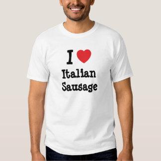 Amo la camiseta italiana del corazón de la playeras