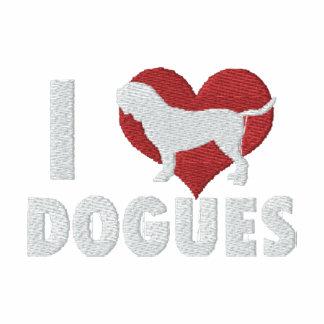 Amo la camiseta larga bordada Dogues de la manga