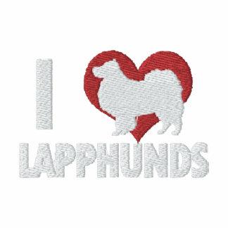 Amo la camiseta larga bordada Lapphunds de la