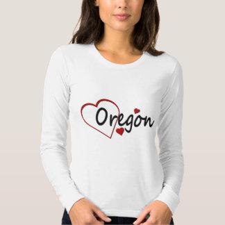 Amo la camiseta larga de la manga de las señoras remera