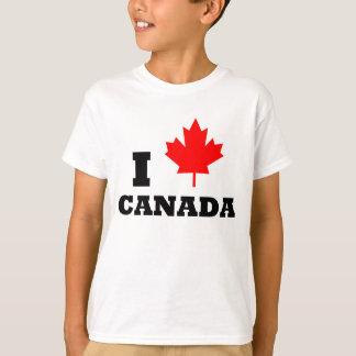 Amo la camiseta roja de la hoja de arce de Canadá Playera