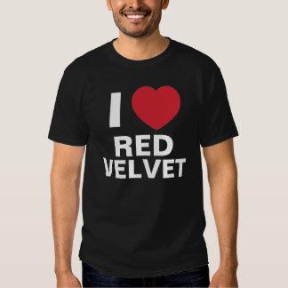 Amo la camiseta roja del terciopelo (el negro) playera