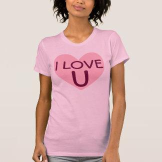 Amo la camiseta rosada del corazón de U (usted) Playeras