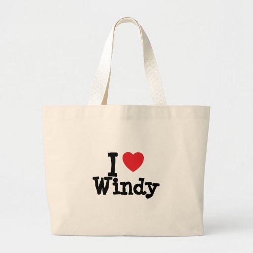 Amo la camiseta ventosa del corazón bolsa tela grande