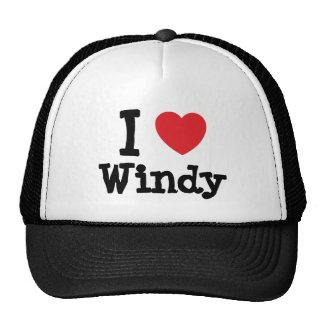 Amo la camiseta ventosa del corazón gorro de camionero