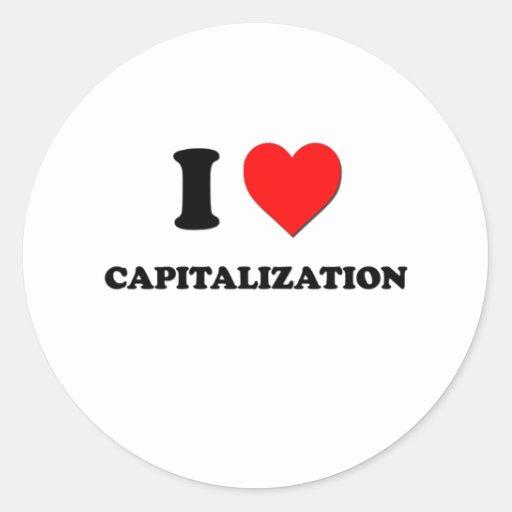 Amo la capitalización pegatina redonda