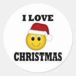 Amo la cara del smiley del navidad etiqueta redonda