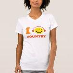 Amo la cara sonriente de la música country con los camiseta