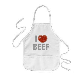 Amo la carne de vaca delantal infantil