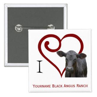 Amo la carne de vaca negra de Angus Pin Cuadrado