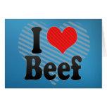 Amo la carne de vaca tarjetón