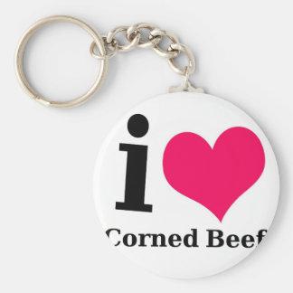 Amo la carne en lata llaveros