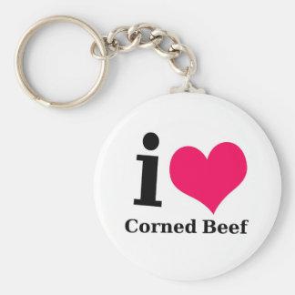Amo la carne en lata llavero redondo tipo pin