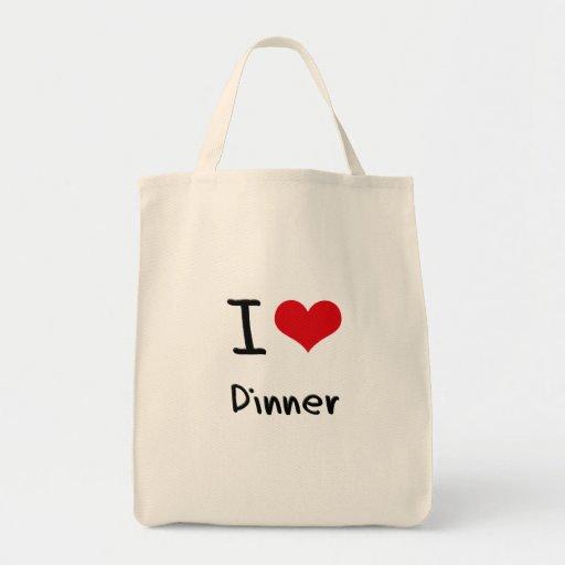 Amo la cena bolsa tela para la compra