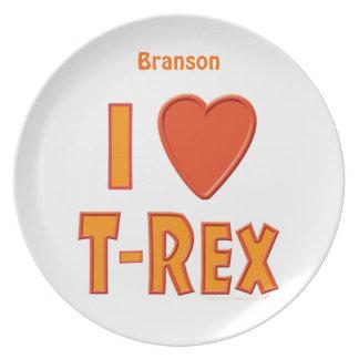 Amo la cena conocida personalizada dinosaurio de T Plato De Cena