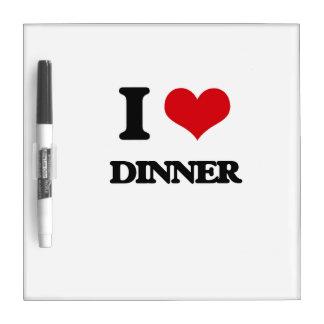 Amo la cena tablero blanco
