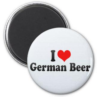 Amo la cerveza alemana imán redondo 5 cm