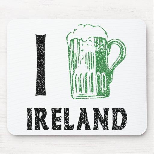 Amo la cerveza de Irlanda Tapete De Ratón