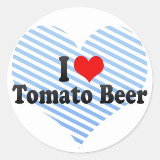 Amo la cerveza del tomate pegatina redonda