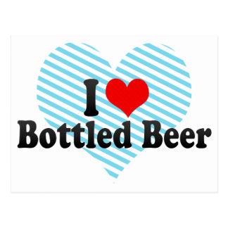 Amo la cerveza en botella tarjeta postal