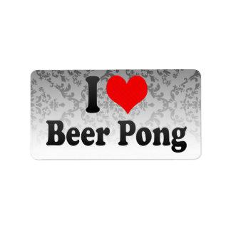 Amo la cerveza Pong Etiqueta De Dirección