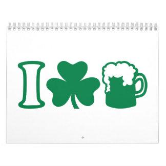Amo la cerveza verde calendarios