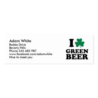 Amo la cerveza verde plantillas de tarjetas de visita