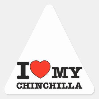 Amo la chinchilla pegatina triangular