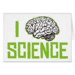 Amo la ciencia (cerebro, el verde) felicitaciones