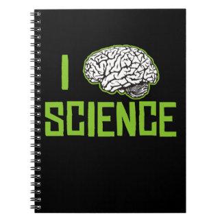 Amo la ciencia cerebro el verde libreta espiral