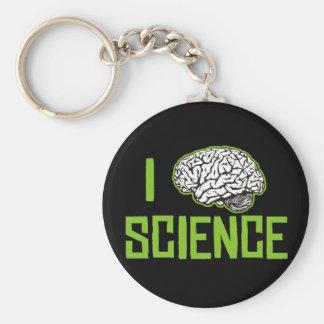 Amo la ciencia (cerebro, el verde) llavero
