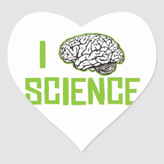 Amo la ciencia (cerebro, el verde) pegatina en forma de corazón