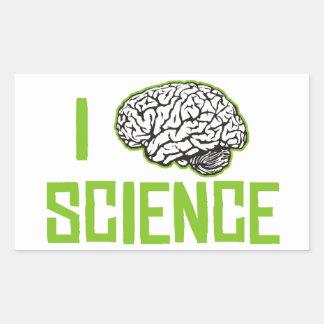 Amo la ciencia (cerebro, el verde) pegatina rectangular