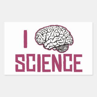 Amo la ciencia (el cerebro) pegatina rectangular