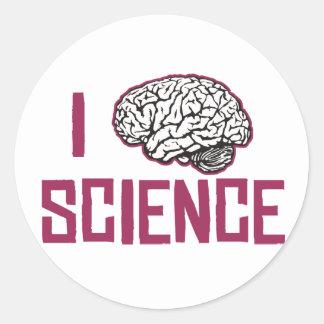 Amo la ciencia (el cerebro) pegatina redonda