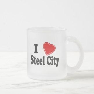 Amo la ciudad de acero taza de cristal