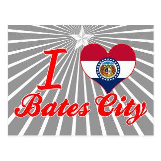 Amo la ciudad de Bates Missouri Tarjeta Postal