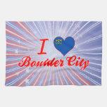 Amo la ciudad de Boulder, Nevada Toallas De Cocina